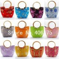 Free shipping lot 10 embroidery bamboo handle silk handbags Bags silk Trapezia handbags Bags Bamboo Handle silk handbag