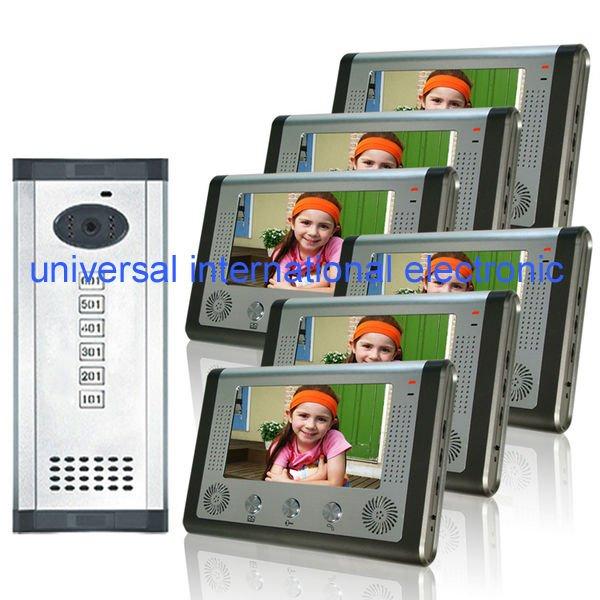 "Hot selling 7"" video door phone 6 apartments building intercom system(China (Mainland))"