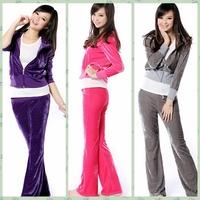 Free shipping 2014 hot fashion women ladies sports wear Velvet jogging suit outerwear sweatshirt casual clothing