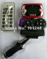 5pcs/lot Car bluetooth handsfree kit  mp3 player wireless fm transmiter modulator  two remotes  sd/mmc/tf/usb memory at-b002a