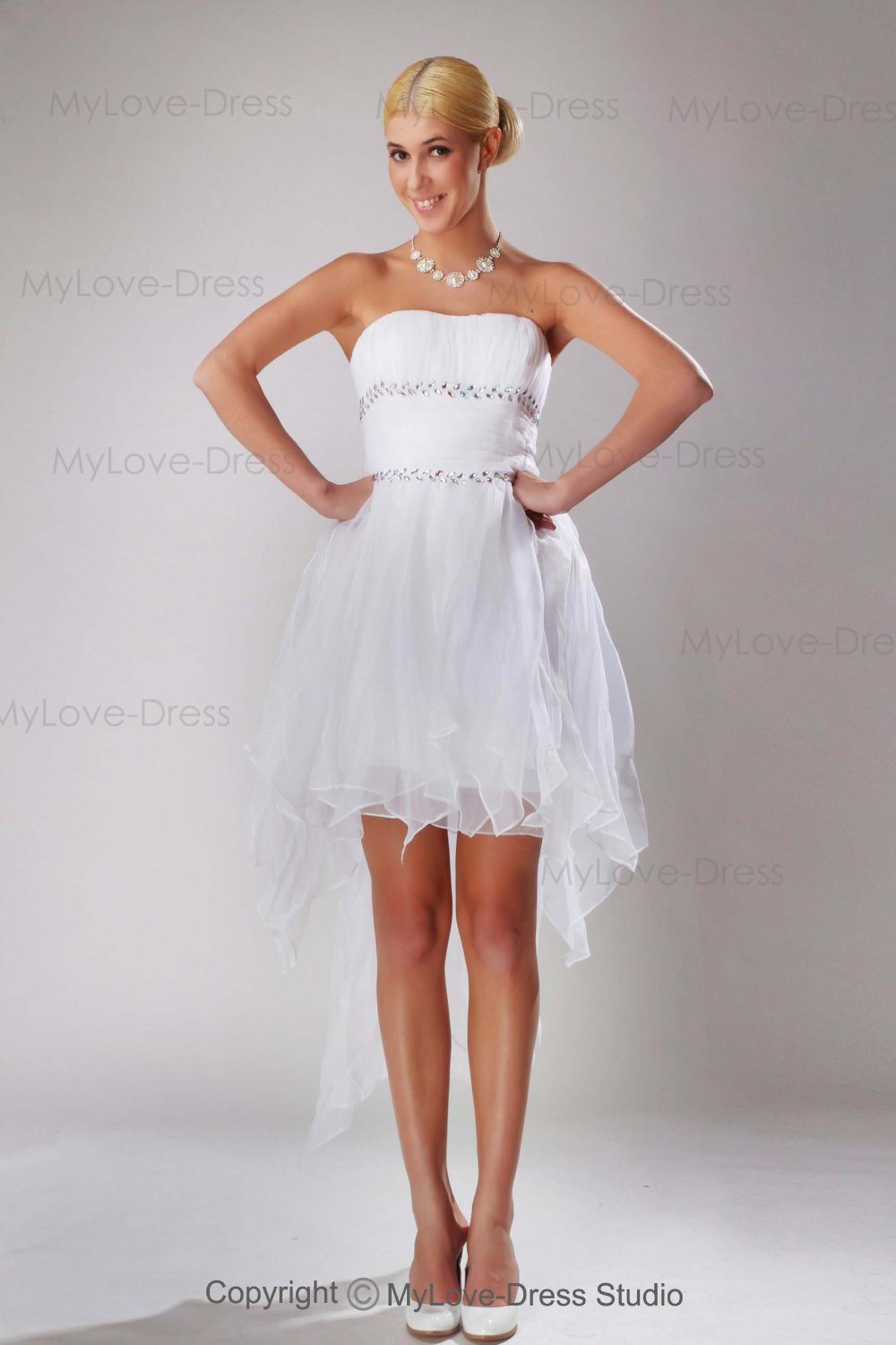 Free Shipping Newest Short Wedding Dress Features Strapless Ruffle Rhinestrone And Fancy Train For 2013 In Stock(China (Mainland))