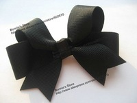 Wholesale Free shipping 3''x3'' 120pcs/lot Black Hair Bows Kid's Hair Accessories 24 colors Girls' Hair clip