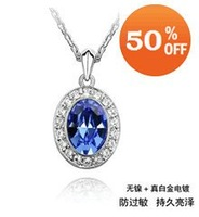 Цепочка с подвеской 18K white gold plated austrian crystal rhinestone clover flower heart necklace pendant fashion jewelry holiday sale 1090