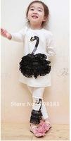 Fress shipping 5 pieces/lot  Baby girl's swan suit 2pcs sets Princess lace long sleeve T shirts /dress+ lace swan leggings pants