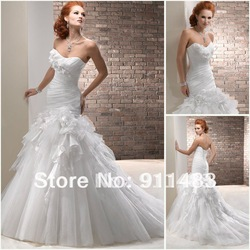 AW093 Free Shipping New Collection Slim White Organza Bridal Wedding Gown(China (Mainland))
