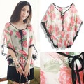 New 2012 arrive hot sale free shipping sexy sweet foral batwing top women boho flower O neck chiffon white shirt ST176