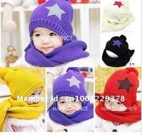 Christmas Gift free shipping 2011 girl fashion Girls love hello kitty fashion scarf +hat knitting 10/lot 2color