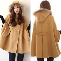 new autumn and winter women camel overcoat wool cap woolen outerwear double breasted outerwear cape women's  Wool Blends Coat