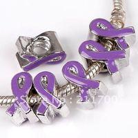 20p Wholesale Purple Enamel Ribbon Screw European Charm Beads