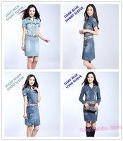 Free ShipLimited Edition Top Grade SOFT Ladies Denim Dress, Elegant Short / Long Sleeve OL Formal Jeans Dresses Plus Size S-XXXL