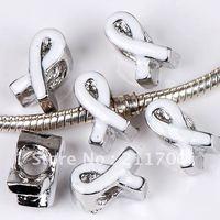 20p Wholesale White Enamel Ribbon Screw European Charm Beads