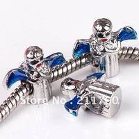 5pcs Blue Enamel Angel European Charm Beads