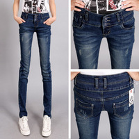 Free Shipping 2012 high waist vintage buttons tight lowing pants plus size Women pencil jeans
