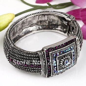 Tibet Silver Plate Crystal Hinged Bracelet Bangle Gift