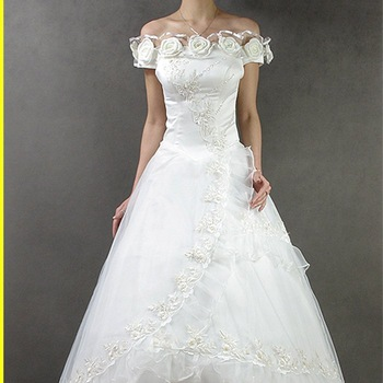 2012 high quality wedding dress floor length bridal dress sweep brush train sleeveless strapless bow flower 069
