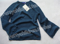 girl dark green long-sleeve crochet knitting pullover spring and autumn sweater child clothing