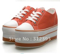 Hot woman's Canvas flat high heel Fashion Platform Sneakers shoes 5 Colors