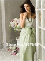 Elegant free shipping light green strapless with bow sash satin floor length straight bridesmaid dresses BD106