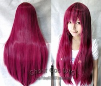 Fashion popular New Long Red wine Cosplay Party Straight Wig #569 free shipping