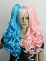 NEW Good pink blue long curly cosplay Split-Type WIG and with 2 pig-tails +#824 free shipping