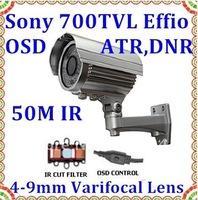 CCTV Waterproof Camera with IR CUT Sony SuperHAD CCD II Effio-E 700TVL 4-9mm manual zoom lens Box Camera external install