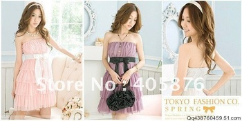 $15 off per $150 order FREE shipping  2011 Beautiful Elastic cake Chiffon Dress Lavender , purple, pink or white AG-018