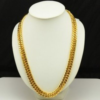 60CM 24KGP Long Chains, Free Shipping/Wholesale Large Men's  24k gold plated Chain,Handsome Golden necklace