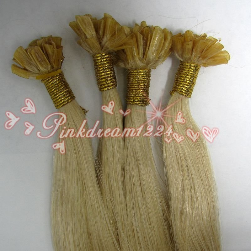 "Retail Virgin Brazilian Factory Outlet Price AAA+ 20-28""Human Hair Extensions Nail Tip 100S 1g/S #613 Beach Blonde(China (Mainland))"