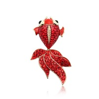 Free shipping/wholesale/fashion style/High quality/New Austria red crystal goldfish Brooch pin