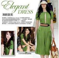S,M,L,XL Green maxi dresses long cheap long dress with belt polyester spandex free shipping NQ2058