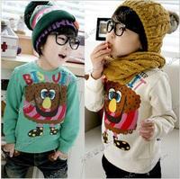 2013 autumn cartoon big eyes boys clothing girls clothing baby sweatshirt outerwear wt-0002