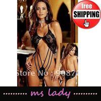 New Sale Women's Lingerie Sexy Black Stripper Lace Clubwear Ladies teddies 10pcs/lot HK airmail Free Shipping
