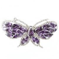 Promotion! /Free shipping/Wholesale/high quality/platinum plated with purple Austria crystal butterfly hairpins