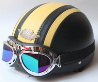 Free shipping wholesale high quality leather helmet YH-998  motorcycle helmet with different color goggle