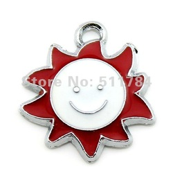 20mm Mix Color Enamel Lovely Smile Sun Face Charms Free Shipping (C40011)(China (Mainland))