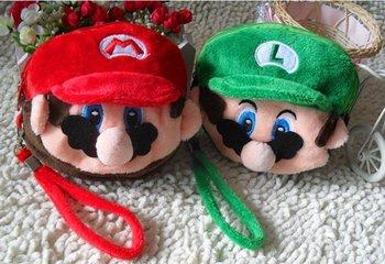30PCS Mario Forever and Luigi-Double Zippers ; Plush Coin Purse & Wallet Pouch Bag Case ; Wrist BAG Cosmetics Case Handbag