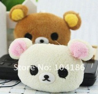 10PCS TOY Plush Stuffed TOY , Mini 4CM SAN-X Rilakkuma Bear , Mobile Cell Phone Strap Pendant Charm Strap Lanyard TOY DOLL