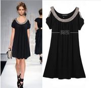 Free shipping,Newest loose dress, black  short sleeve dress, summer plus sizet dress ,beading collar