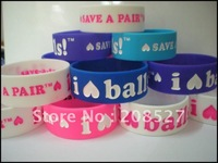 Fashion Silicon wristband, silicon bracelet, I love balls Health band, promotion gift,colour filled in, 1pcs/lot,free shipping