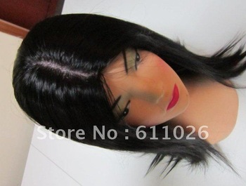 "16"",#1B,AAAAA grade ,100%Virgin Human Hair,Silky straight , free shipping,Silk top glueless lace front wig"