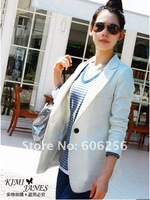 NEW, hot selling, one button, OL style long sleeve ladies coat ,1 botton women suit ,women jacket