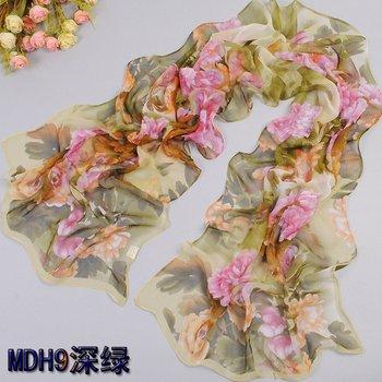 2014Hot  Fashion Ladies Flower printed Design georgette silk scarf beach scarf head scarf