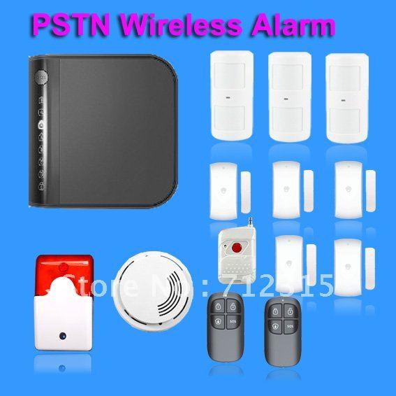 50 Zones DIY PSTN Landline WirelessSecurity Burglar  Home Alarm System w Internal Antenna DHL fr ...