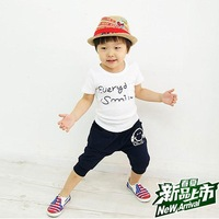 Hot-selling 2012 clothing male child summer 2012 sports set short-sleeve T-shirt capris earphones twinset