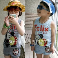 Free Shipping summer children's clothing cartoon set male female vest shorts set felix