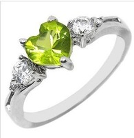 925 sterling silver ring crystal of natural peridot female jewelry lovers SR0214P