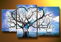 Framed hand paint blue love heart tree art 3 panel Group Oil Painting Canvas Art  home decoration Free shipping/sa-1221