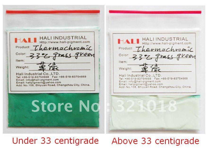 thermochromic pigment,temperature sensitive pigment,thermochromic powder,color: grass green, activated temperature:33 celsius(China (Mainland))