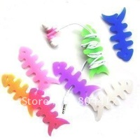 100pcs/lot Silicone Rubber Winder Fish Bone Earphone Cord Animal Cable Winder Cable Holder Organizer for MP3 MP4 cell phone