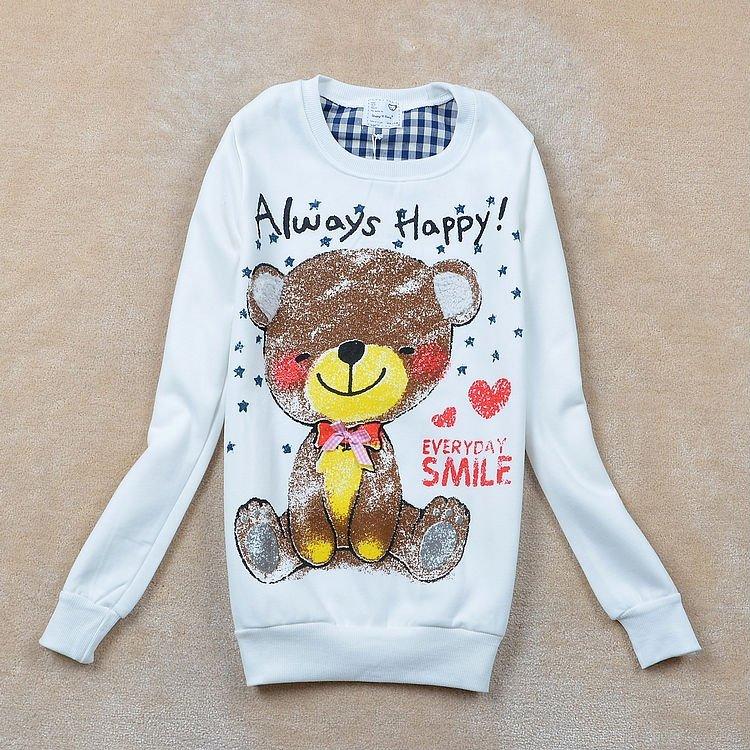 Free shipping New Autumn/Winter Korean style Catoon Bowknot Fleece Cotton Women hoodie LJ080